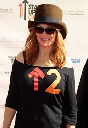 Nancy Wilson finished off her off-the-shoulder shirt with a brown top hat.