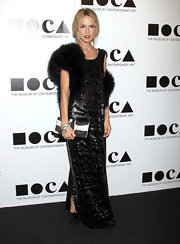 Rachel Zoe gave her sequined gown an unexpected finish with a cow print clutch.