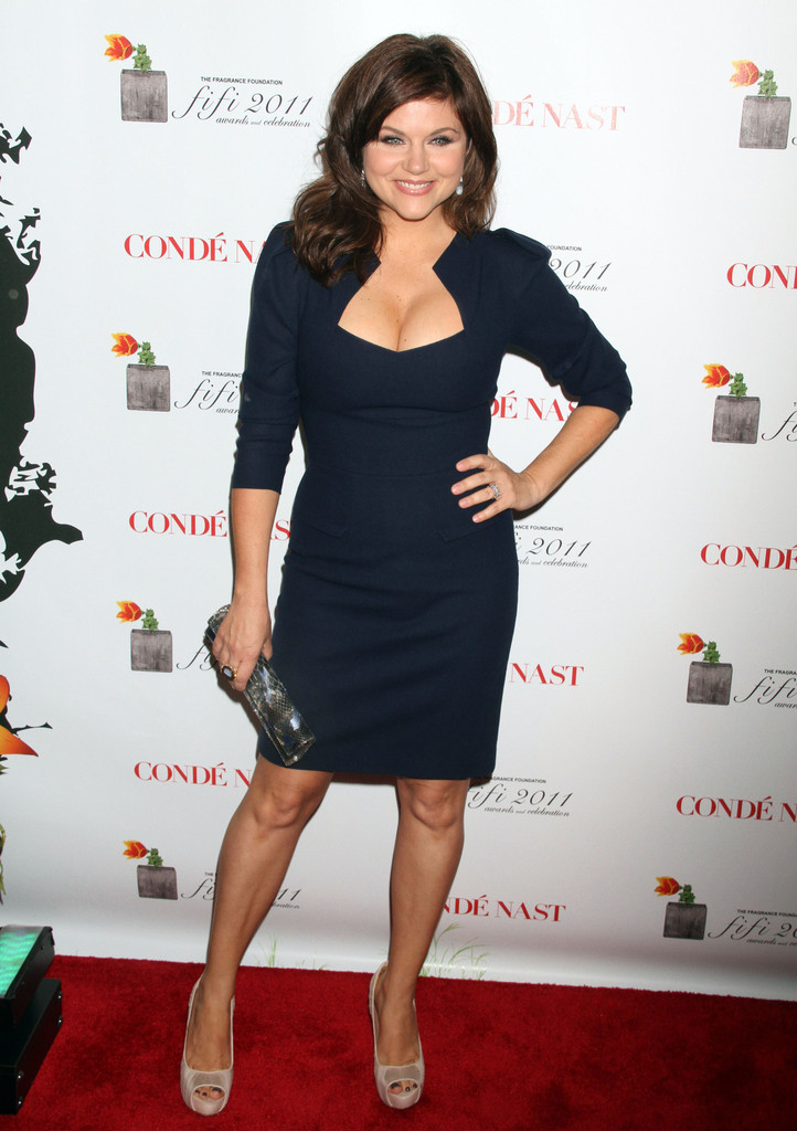Tiffani-Amber Thiessen Unleashes Huge Cleavage in a Sexy Little Black Dress