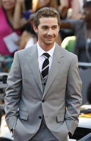 Shia LaBeouf wore a striped tie with his gray three-piece suit during the 'Transformers' premiere.