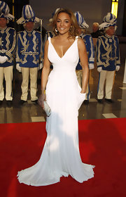 Estefania looked white hot in this Grecian evening gown at the UNESCO Charity Gala in Duesseldorf.