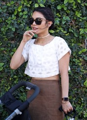 Vanessa Hudgens looked cool in her oversized Fendi cateye sunnies.