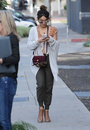 Vanessa Hudgens teamed her top with a pair of sporty pants.