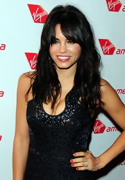Jenna Dewan styled her hair in soft curls and wispy bangs at the Virgin America launch party.