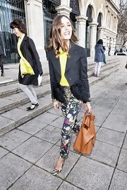 Olivia Palermo dared to mix floral with leopard pumps at a Vivienne Westwood after party in London.