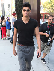 Siva Kaneswaran's black tee left him look laid back but still put together.