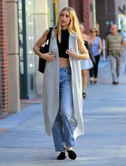 Whitney Port looked a little hippie in her long gray vest.