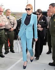 Lindsay Lohan looked sharp at her probation hearing in this pale blue suit.