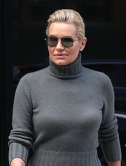 Yolanda Hadid headed out in New York City wearing a pair of angular shades.