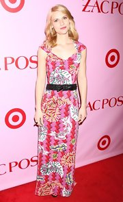 Actress Claire Danes cinched her Zac Posen for Target dress with a woven leather belt.