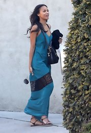 Zoe Saldana wore this aqua maxi dress with lace cut out for her relaxed boho look.
