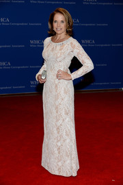 Katie Couric chose a white sheer-illusion lace gown for the White House Correspondents' Association Dinner.