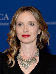 Julie Delpy amped up the glam factor with a stunning diamond statement necklace.