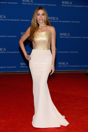 Sofia Vergara's famous curves were on full display in a gold and white strapless gown by Romona Keveza during the White House Correspondents' Association Dinner.