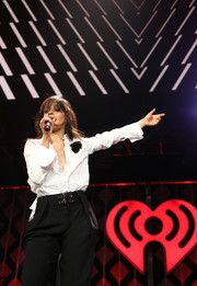 Camila Cabello kept it classic in a white button-down shirt during 101.3 KDWB's Jingle Ball 2017.
