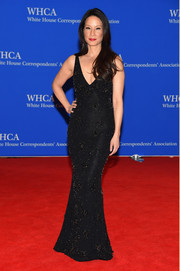 Lucy Liu was all about classic glamour in a beaded black column dress by Naeem Khan during the White House Correspondents' Association Dinner.