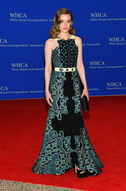 Gillian Jacobs attended the White House Correspondents' Association Dinner wearing a teal, black, and yellow gown rendered in a fun and intricate pattern that's a signature of every Peter Pilotto creation.