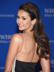 Nina Dobrev wore her long hair down in a tumble of waves during the White House Correspondents' Association Dinner.