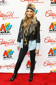 Havana Brown arrived at the KTU event wearing a cropped leather jacket.
