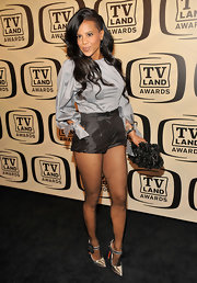 Laurieann Gibson hit the 10th Annual TV Land Awards wearing a pair of metallic silver Mary Janes with flower embellishments.