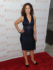 Ana Ortiz paired her black pumps with a midnight blue halter top.