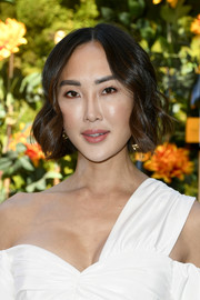Chriselle Lim styled her short hair into a wavy 'do for the 2019 Veuve Clicquot Polo Classic Los Angeles.