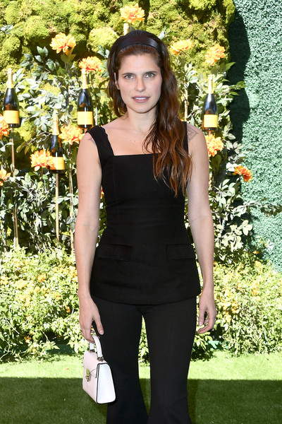 More Pics of Lake Bell Strappy Sandals (1 of 3) - Heels Lookbook - StyleBistro [clothing,black,shoulder,lady,fashion,little black dress,dress,long hair,footwear,plant,arrivals,lake bell,los angeles,pacific palisades,california,will rogers state historic park,veuve clicquot polo classic]