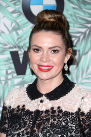 Carly Steel wore her hair in a top bun when she attended the Women in Film pre-Oscar cocktail party.