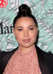 Jurnee Smollett-Bell styled her hair into a top knot for the Women in Film pre-Oscar cocktail party.