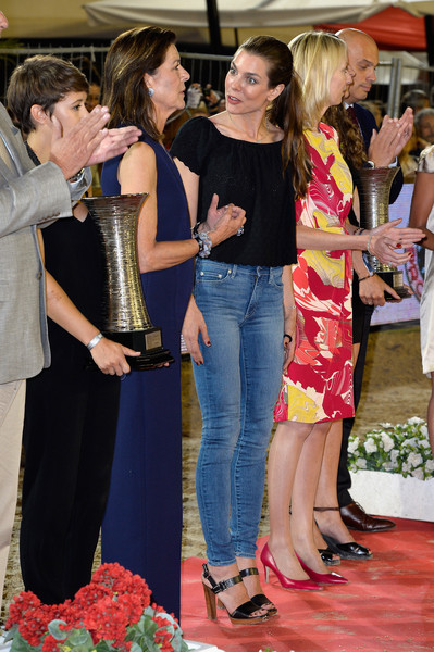For her footwear, Charlotte Casiraghi chose a pair of black ankle-strap platforms.