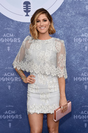 Cassadee Pope's pink satin clutch and white lace dress at the ACM Honors were a very sweet pairing!
