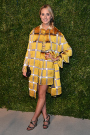 Elisabeth von Thurn und Taxis cut a chic figure in a fringed gold coat and a matching skirt at the 2014 CFDA/Vogue Fashion Fund Awards.