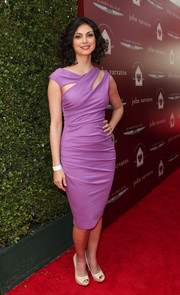 Morena Baccarin looked divine in a purple cutout dress by Kevan Hall during the John Varvatos Stuart House Benefit.