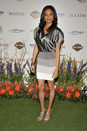 Rochelle wore an elegant pair of jeweled metallic sandals with a colorblocked mini dress.