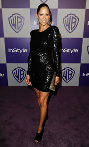 Stacey Dash stole the show in her black sequined cocktail dress at the Warner Brothers and InStyle Golden Globe After Party.