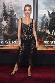 Elsa Pataky was nearly naked at the world premiere of '12 Strong' in this laser-cut black dress by Dolce & Gabbana.