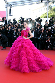 Araya Hargate made jaws drop with this fuchsia one-shoulder princess gown by Zuhair Murad Couture at the Cannes Film Festival screening of '120 Beats Per Minute.'