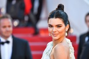 Kendall Jenner styled her hair into a center-parted top knot for the Cannes Film Festival screening of '120 Beats Per Minute.'