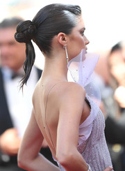 Sara Sampaio sported a cross between a twisted bun and a ponytail when she attended the Cannes Film Festival screening of '120 Beats Per Minute.'