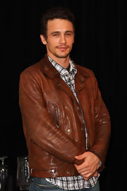 James Franco reminds us why he once played James Dean in a cognac leather jacket befitting of the late actor.