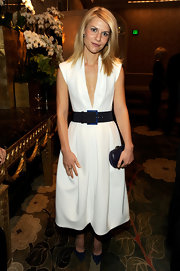 Claire Danes wore a deep-plunging white cocktail dress with a wide belt for the AFI Awards.