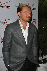 Leonardo DiCaprio layered a patterned gray blazer over a white button-down for the AFI Awards.