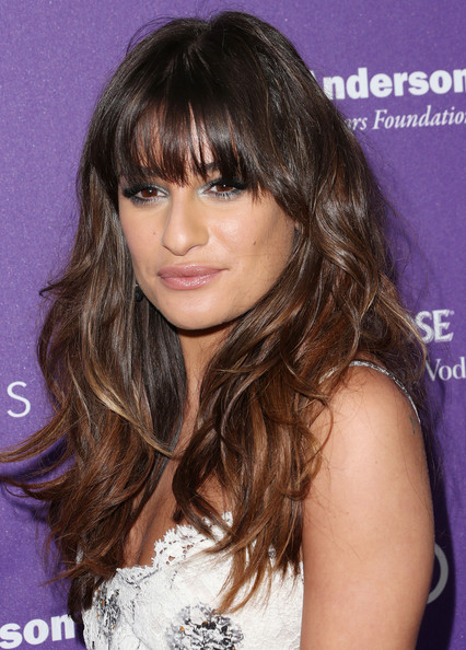 More Pics of Lea Michele Long Wavy Cut with Bangs (1 of 20) - Lea Michele Lookbook - StyleBistro
