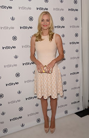 Yvonne Strahovski chose a nude-and-white honeycomb-print dress for her sleek look at InStyle's Soiree.