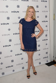 Jessy Schram hopping on the summer lace trend with this navy blue lace mini.