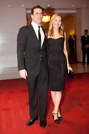 Jennifer Westfeldt finished off her elegant look with a pair of embellished black peep-toes.
