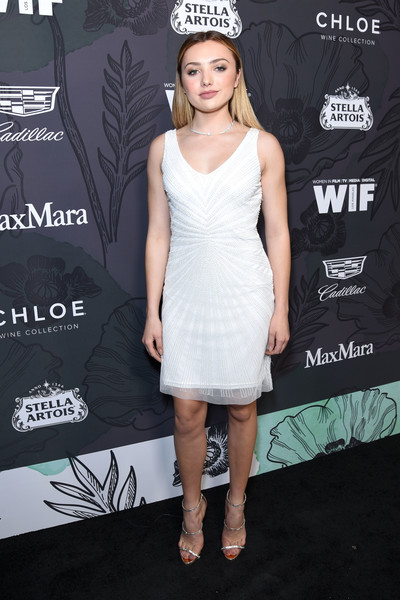 Peyton List looked simply elegant in a sleeveless LWD at the Women in Film Oscar nominees party.