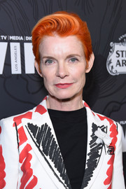 Sandy Powell worked a bright orange boy cut at the 2019 Women in Film Oscar nominees party.