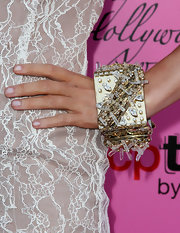 Kristine Elezaj showed off her decadent bracelet, while walking the carpet at the Young Hollywood Awards.