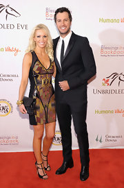 Luke Bryan's black tux at the Unbridled Eve Gala looked a bit edgy, thanks to its skinny silhouette.